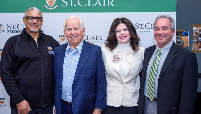Dan Allen, Chair, St. Clair College Board of Governors, Michael Solcz Sr., Patricia France, President, St. Clair College, Mike Ouellette, General Manager, Skilled Trades Regional Training Centre