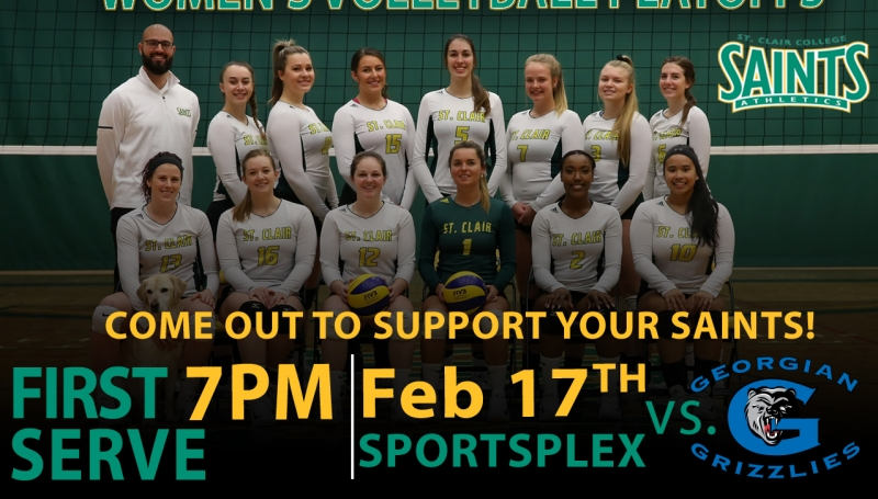 Women's Volleyball Playoffs Ad - 7PM, Saturday, February 17th at Sportsplex