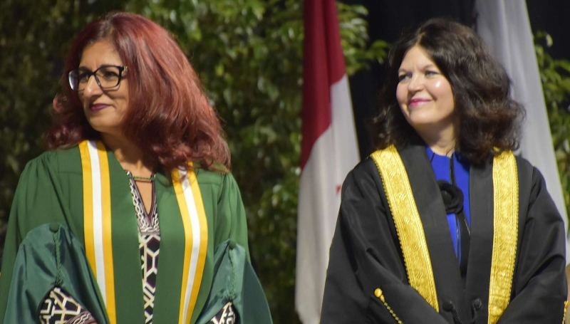 Nancy Jammu-Taylor, left, Chair of St. Clair College's Board of Governors, and President Patti France are pictured at last year's convocation.