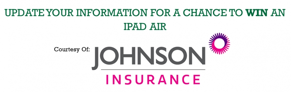Update your information for a chance to win an iPad Air. Courtesy of Johnson Insurance.