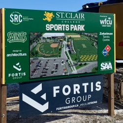 Sign on display of the new SportsPark